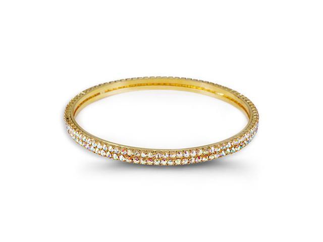Double Round Rainbow CZ Gold Tone Band Bangle Bracelet