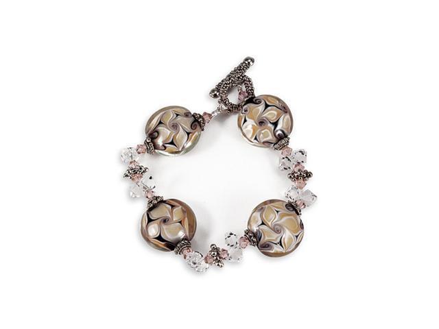 Black Brown Tan Pink Clear Glass Beads Fashion Bracelet