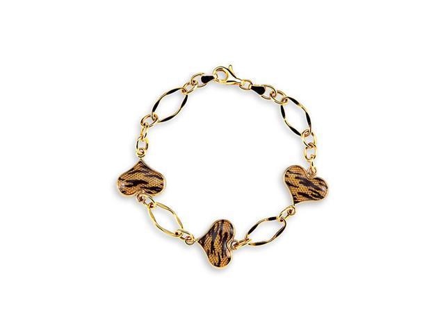 14k Yellow Gold Tiger Print Enamel Heart Charm Bracelet