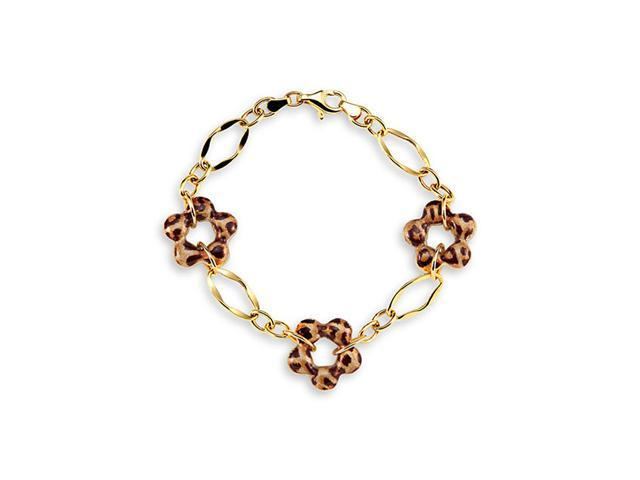 New 14k Yellow Gold Leopard Print Flower Charm Bracelet
