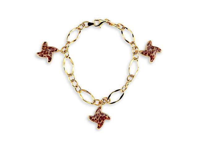 New 14k Yellow Gold Cheetah Leopard Star Charm Bracelet