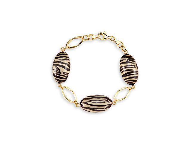 14k Yellow Gold Tiger Print Enamel Oval Charm Bracelet