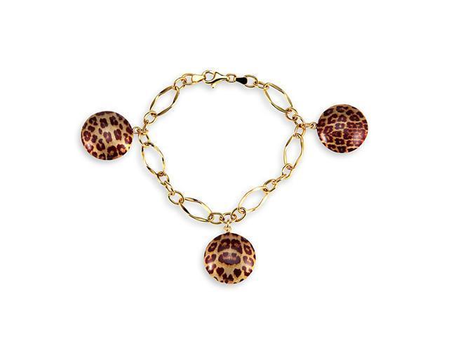 14k Hollow Gold Cheetah Leopard Round Charm Bracelet