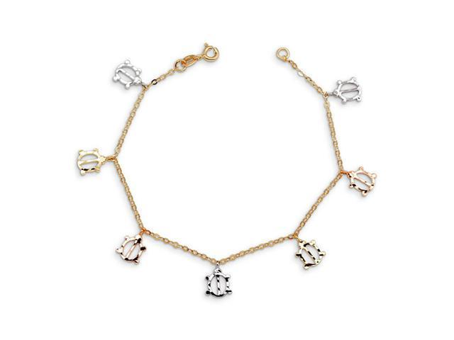 14k Yellow White Rose Gold Luck Charm Ladybug Bracelet