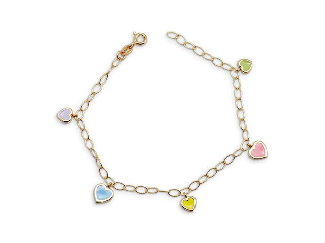 14k Yellow Gold Multicolor Pastel Heart Charm Bracelet