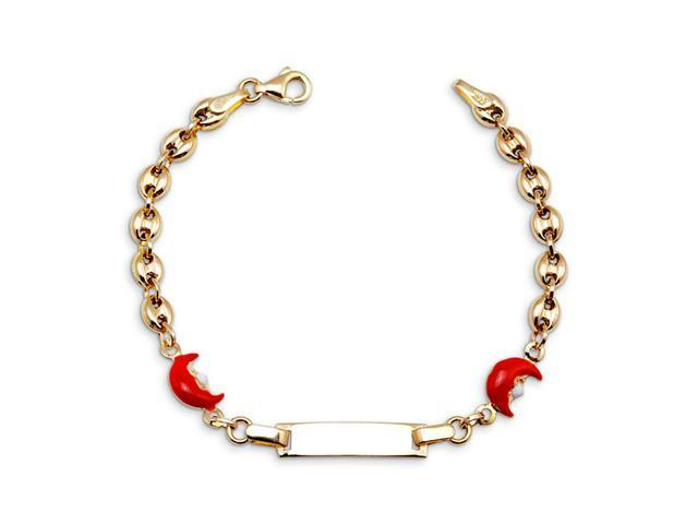 14k Yellow Gold Red Moon Charm Child ID Chain Bracelet