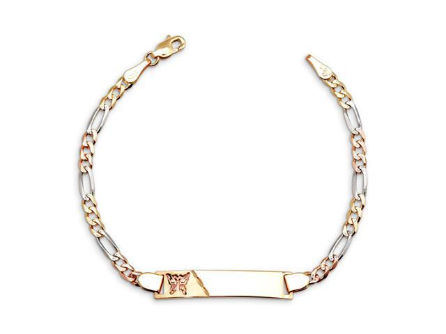 New 14k White Yellow Rose Gold Figaro ID Child Bracelet