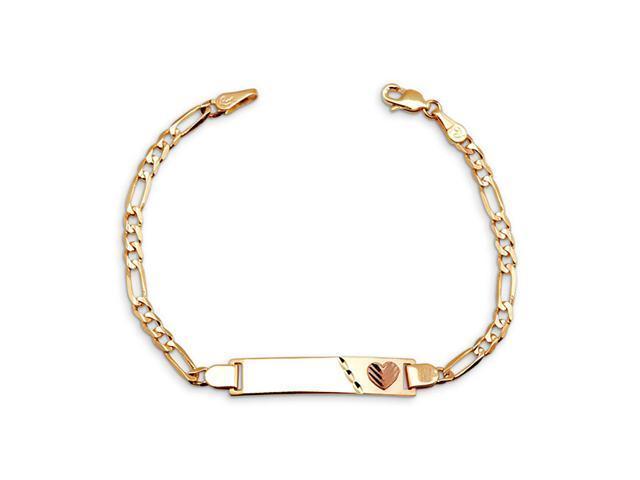 New 14k Yellow Rose Gold Figaro Heart Child ID Bracelet