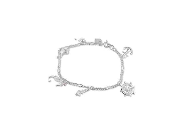 925 Silver Anchor Seahorse Wheel Heart Shell Bracelet
