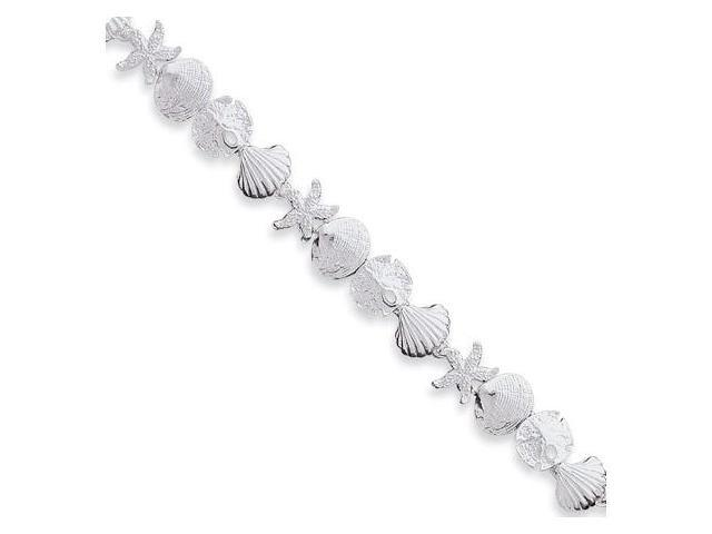 925 Silver Sand Dollar Starfish Sea Shells Bracelet