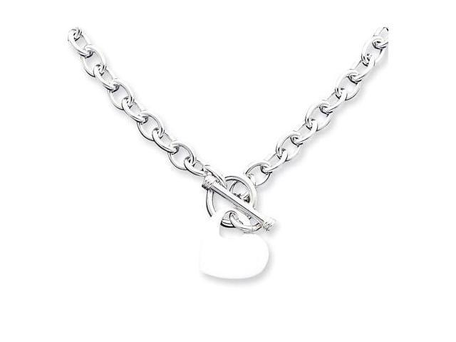 925 Sterling Silver Cable Chain Heart Charm Bracelet
