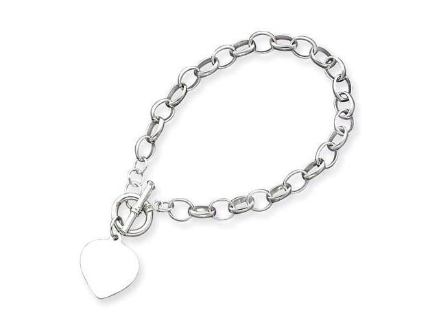 925 Sterling Silver Heart Charm Cable Chain Bracelet