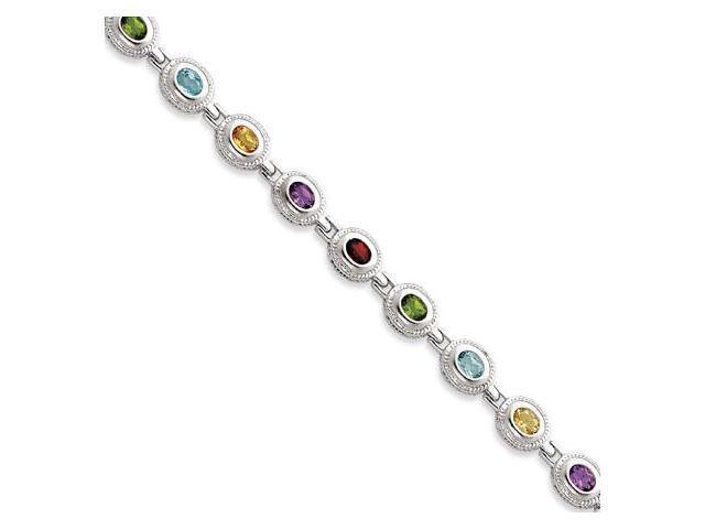 925 Sterling Silver Multicolor Gemstones Chain Bracelet