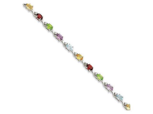 925 Silver .50 Ct Diamond Multicolor Gemstones Bracelet