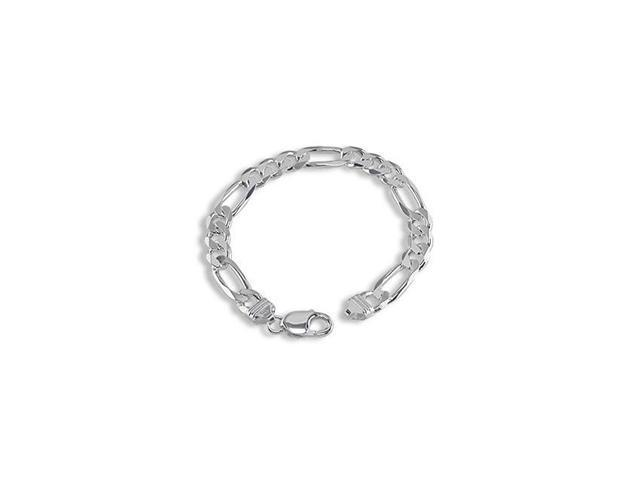 Men's WIDE SILVER Figaro Chain Bracelet 9
