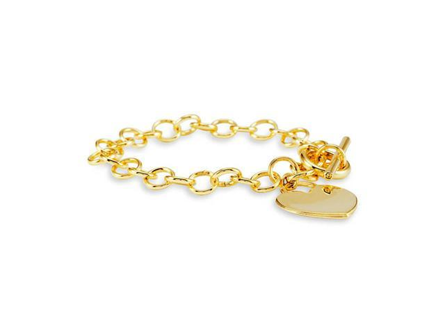 New 14k Bonded Gold Chain Link Heart Charm Bracelet
