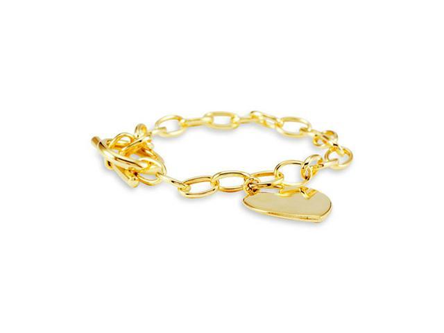 New 14k Yellow Bonded Gold Ladies Chain Link Bracelet