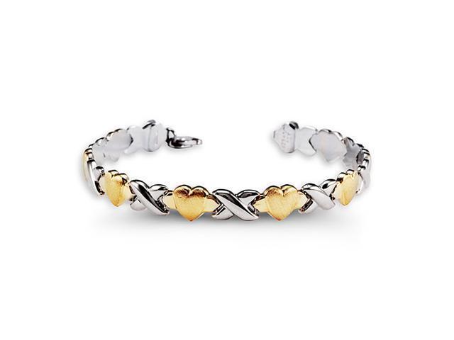 10k Yellow Gold. 925 Sterling Silver X Heart Bracelet