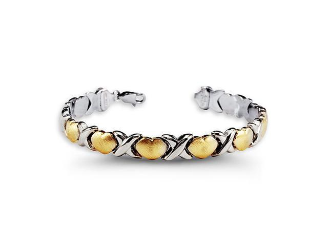 .925 Sterling Silver X 10k Yellow Gold Heart Bracelet