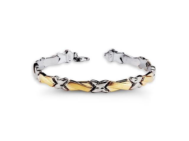 925 Sterling Silver 10k Yellow Gold X Link Bracelet