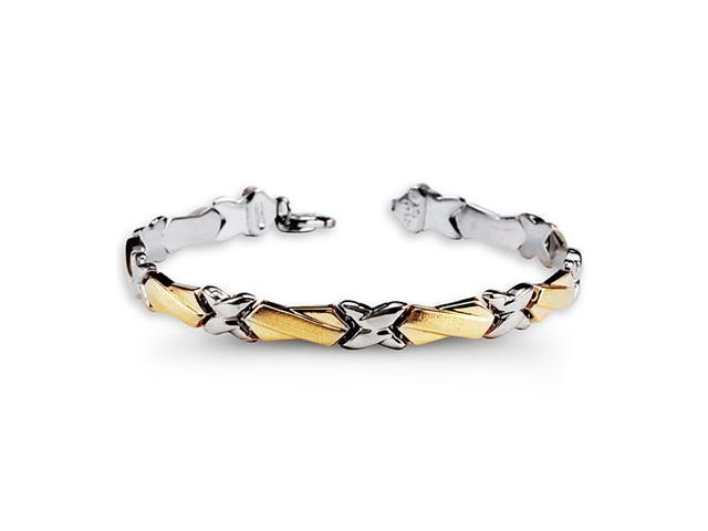 925 Sterling Silver 10k Yellow Gold X Link Bracelet