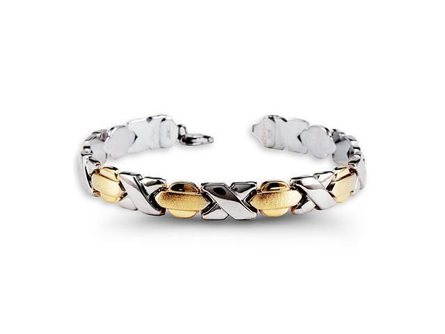10k Yellow Gold .925 Sterling Silver X O Link Bracelet