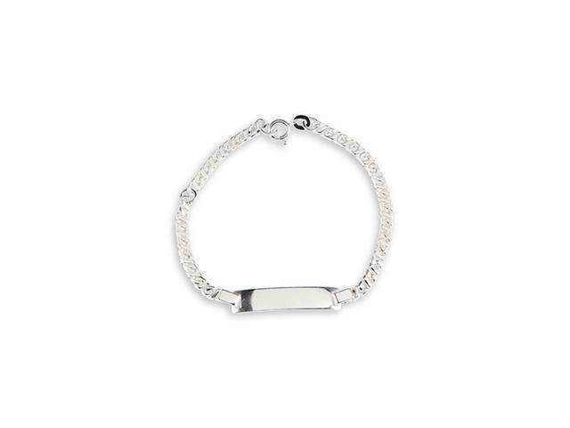 Kids  Charm Link Solid 925 Sterling Silver ID Bracelet