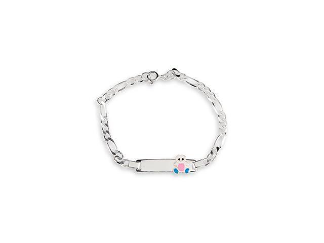 Kids Child Pink Blue Teddy Bear 925 Silver ID Bracelet