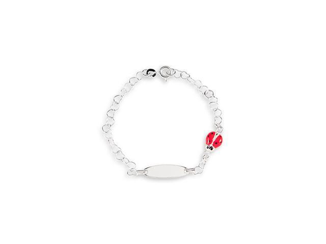 925 Sterling Silver Heart Link Red Lady Bug ID Bracelet