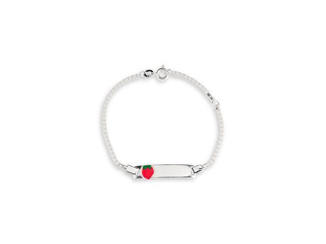 925 Sterling Silver Red Enamel Strawberry ID Bracelet