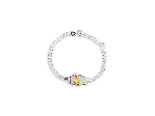 Kids Solid .925 Sterling Silver Oval Duck Bracelet