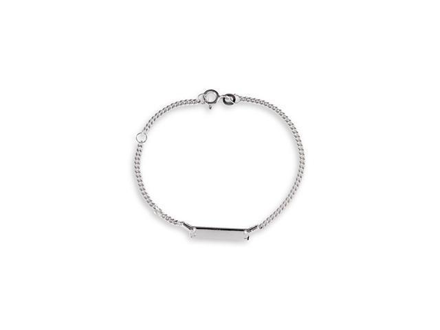 Kids Girls Boys Solid .925 Sterling Silver ID Bracelet