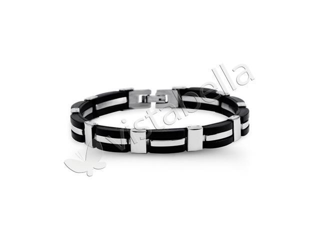Mens Modern Stainless Steel Black Rubber Link Bracelet