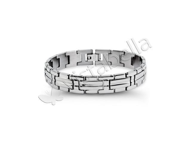 Mens Solid Stainless Steel Cross Link Biker Bracelet