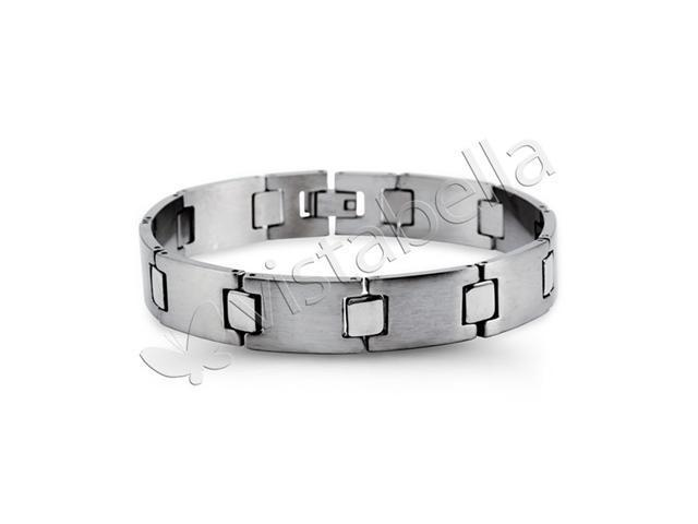 Mens Modern Stainless Steel Square Link Band Bracelet
