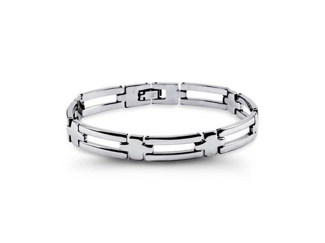 Mens Stainless Steel Open Link Solid Polished Bracelet