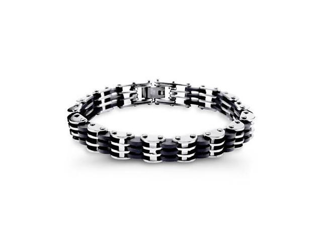 Mens Modern Rubber Stainless Steel Biker Link Bracelet