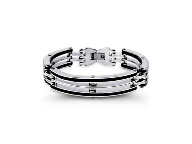 Modern Mens Solid Tough Rubber Stainless Steel Bracelet