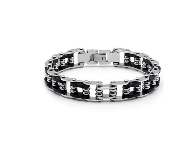 Mens Stainless Steel Spring Link Black Rubber Bracelet