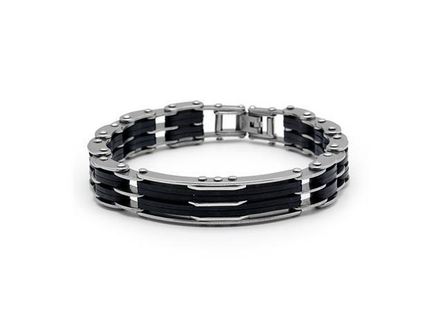 Mens Double Chain Link Rubber Stainless Steel Bracelet