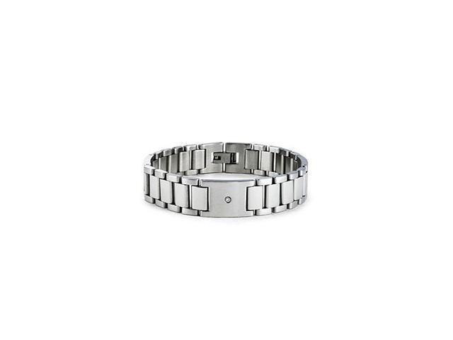 Mens Stainless Steel Links Round Diamond Bracelet