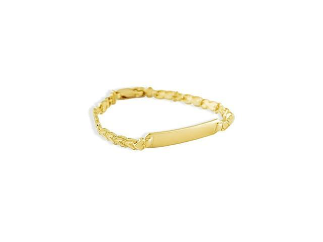 14k Yellow Gold Heart Love Link Engraveable ID Bracelet