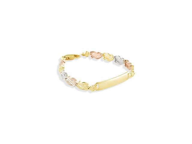 14k White Rose Solid Gold Engraveable ID Heart Bracelet