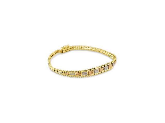 Ladies 14k White Rose Yellow Gold Art Fashion Bracelet