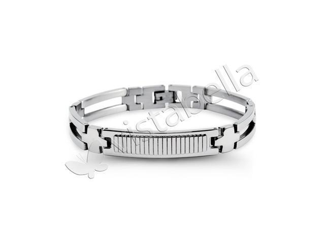 Mens Unique Stainless Steel Cross Open Band Bracelet