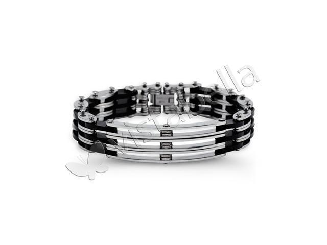 Mens Rubber Stainless Steel Modern Tough Biker Bracelet