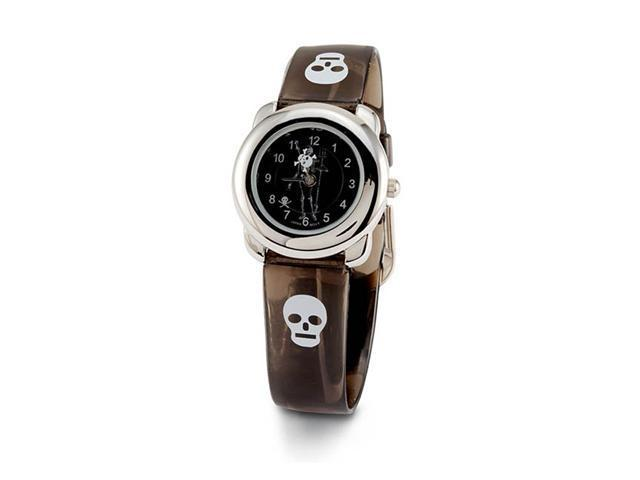 Womens Brown Silver Tone Skull Skeleton Fashion Watch
