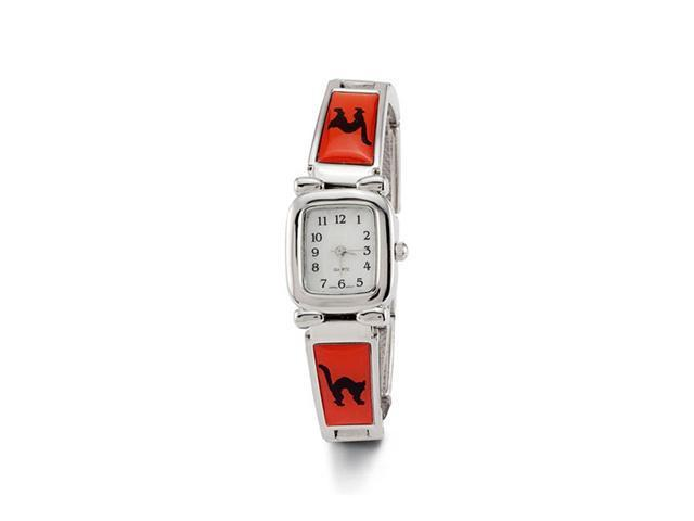 New Ladies Black Cat Red Silver Tone Band Quartz Watch