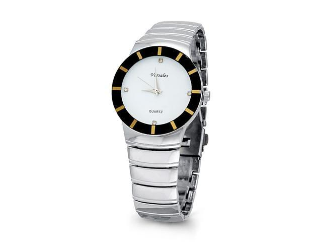 New Mens White Black Silver Tone Fashion Bracelet Watch