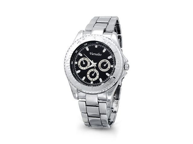 Mens Sporty Silver Tone Black Fashion Bracelet Watch